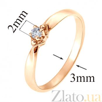 Кольцо из красного золота с бриллиантом Лирония TRF--112014н
