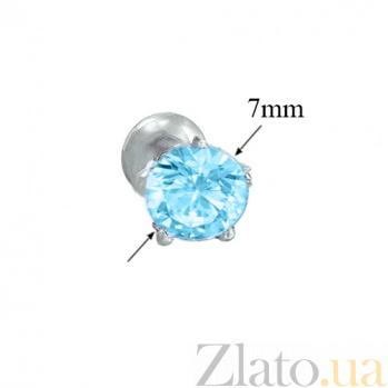Серебряные пуссеты с голубым кварцем Очарование 000015323
