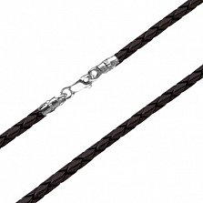 Шнурок из  кожи с серебряной застёжкой Лорэнс