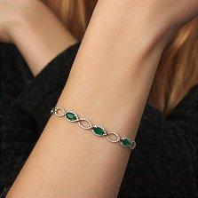 Серебряный браслет Хелена с зеленым агатом и фианитами