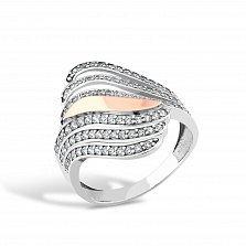 Серебряное кольцо Родезия с золотой накладкой и фианитами