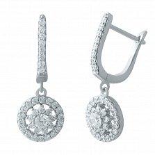 Серебряные серьги-подвески Нинель с фианитами