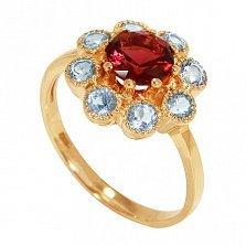 Золотое кольцо Эксклюзивная ромашка с морганитом и топазами