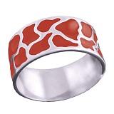 Серебряное кольцо Аврора с красной эмалью