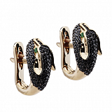 Золотые серьги Пантера с бриллиантами и цаворитами