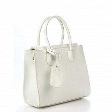 Кожаная деловая сумка Genuine Leather 8612 бежевого цвета на магнитной кнопке со съемным ремнем