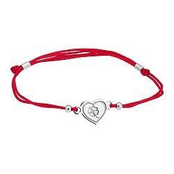 Шелковый браслет Сердце-клевер с серебряной вставкой
