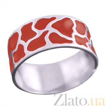 Серебряное кольцо Аврора с красной эмалью 000007562