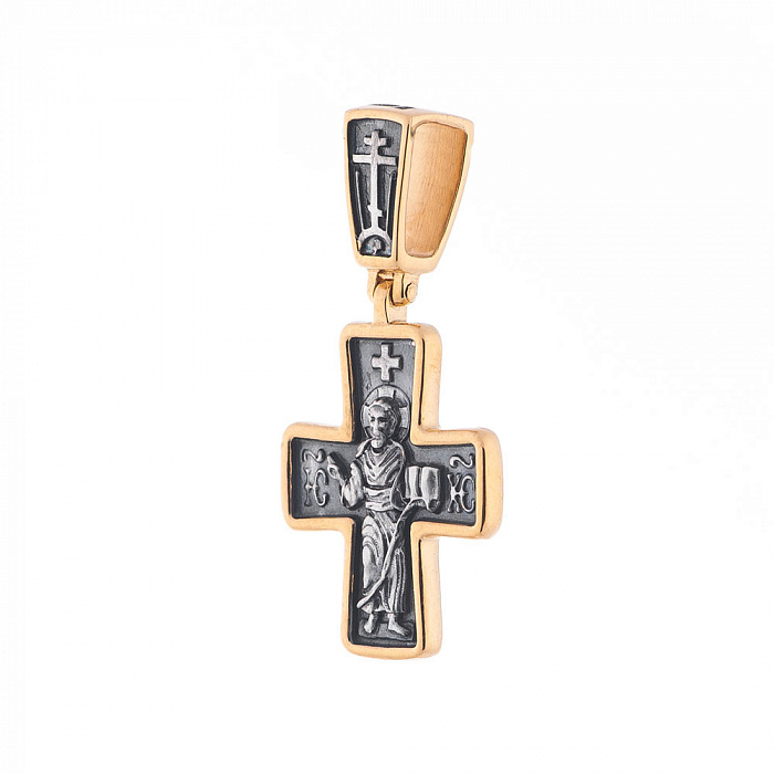 Серебряный крестик Праведность с позолотой и чернением 000080238