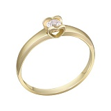 Кольцо в желтом золоте Желание сердца с бриллиантом