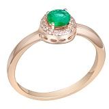 Кольцо в красном золоте Морской этюд с изумрудом и бриллиантами