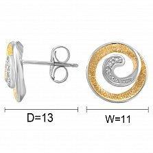 Серьги из комбинированного золота Вечный зов с бриллиантами