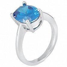 Серебряное кольцо Эдвена с фианитом цвета лондон топаза