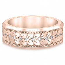 Кольцо обручальное Благословение небес: Мелодия сердца из розового золота