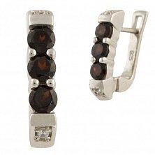 Серебряные серьги Ксантия с гранатом и фианитами