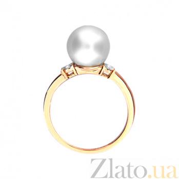 Золотое кольцо с топазами и жемчугом Морской бриз 000029856