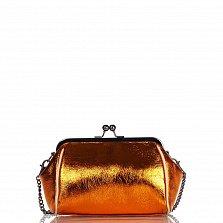 Кожаный клатч Genuine Leather 1672 золотисто-оранжевого цвета с фермуаром и цепочкой