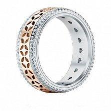 Обручальное кольцо Карусель желаний из розового и белого золота с бриллиантами