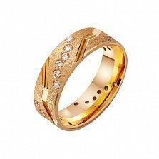 Золотое обручальное кольцо Forever together с фианитами