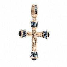 Серебряный позолоченный крест Защитник с ониксом