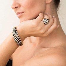 Золотой браслет Средиземноморье с черной эмалью