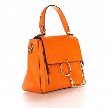 Кожаная деловая сумка Genuine Leather 8941 оранжевого цвета с декоративной цепочкой и кольцом