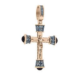 Серебряный позолоченный крест Защитник с ониксом 000055261