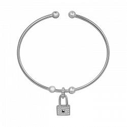 Серебряный литой браслет Прямоугольный замочек с фианитами 000105855