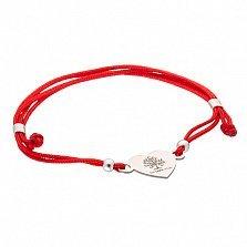 Шелковый браслет Сердце дерева с серебряной вставкой