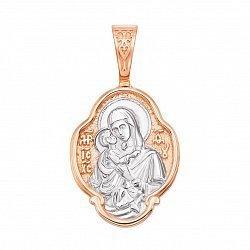 Ладанка в комбинированном цвете золота Богородица с родированием 000129503