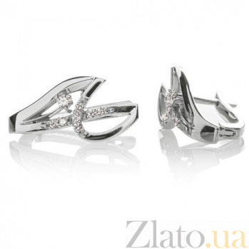 Золотые серьги с бриллиантами Седна E0440