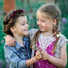 Детское колье Бабочка с эмалью и фианитами