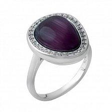 Серебряное кольцо Интуиция с фиолетовым улекситом и белыми фианитами