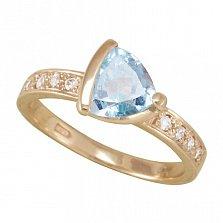 Золотое кольцо Марлена с голубым топазом и фианитами