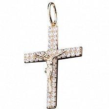 Золотой крестик Христос с фианитами