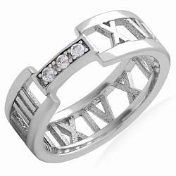 Серебряное кольцо Римские цифры с фианитами