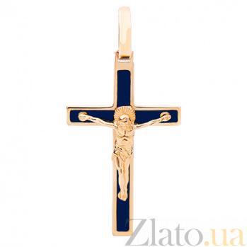 Золотой крестик с синей эмалью Спаси и Сохрани 000015036