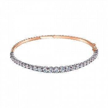 Золотой браслет в комбинированном цвете с цирконием Swarovski 000143798