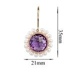 Золотые серьги с аметистами, жемчугом и бриллиантами Violet passion