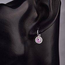 Серебряные серьги Марина с розовым и белыми фианитами
