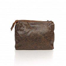 Кожаный клатч Genuine Leather 6564 кофейного цвета с плечевым ремнем и двумя отделами