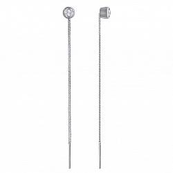 Серебряные серьги-протяжки Ассоль с завальцованными фианитами