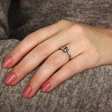 Золотое кольцо в белом цвете Аманда с сапфиром и бриллиантами