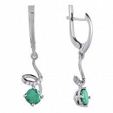 Серебряные серьги-подвески Яна с зеленым агатом и фианитами