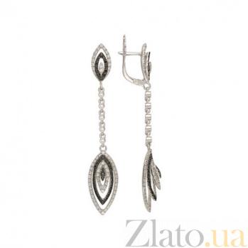 Серьги-подвески Карина из белого золота с цирконами VLT--ТТТ2328