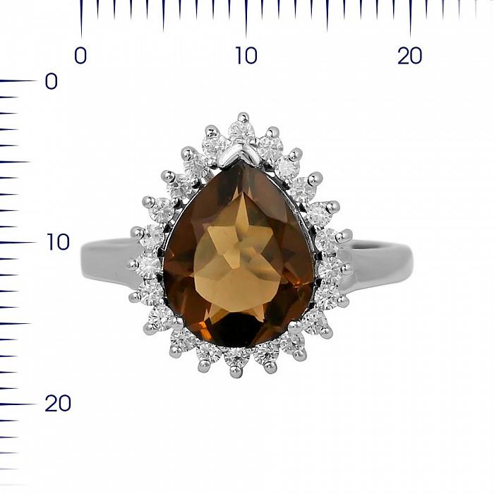 Серебряное кольцо Фелиция с раухтопазом и фианитами 000081591