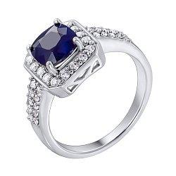 Серебряное кольцо с сапфиром и фианитами 000140132