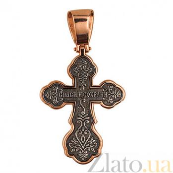 Крестик с черным и белым родированием Крещение Руси VLT--КЛ3006-1