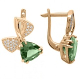 Золотые серьги с зеленым кварцем и фианитами Адамайн
