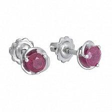 Серебряные пуссеты с рубинами Подарок